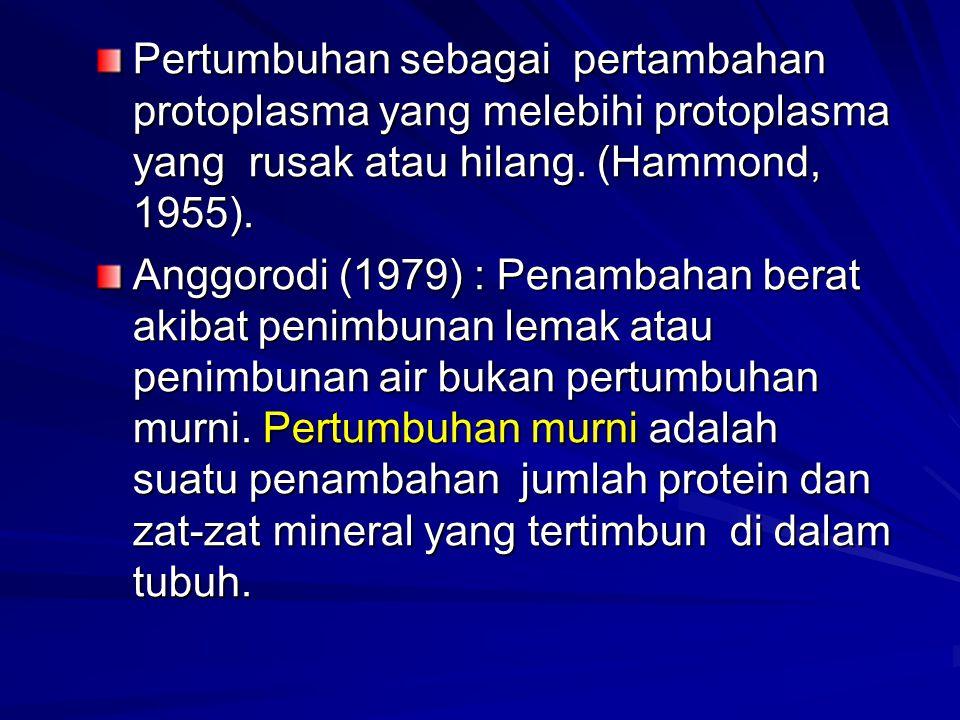 Pertumbuhan sebagai pertambahan protoplasma yang melebihi protoplasma yang rusak atau hilang. (Hammond, 1955). Anggorodi (1979) : Penambahan berat aki