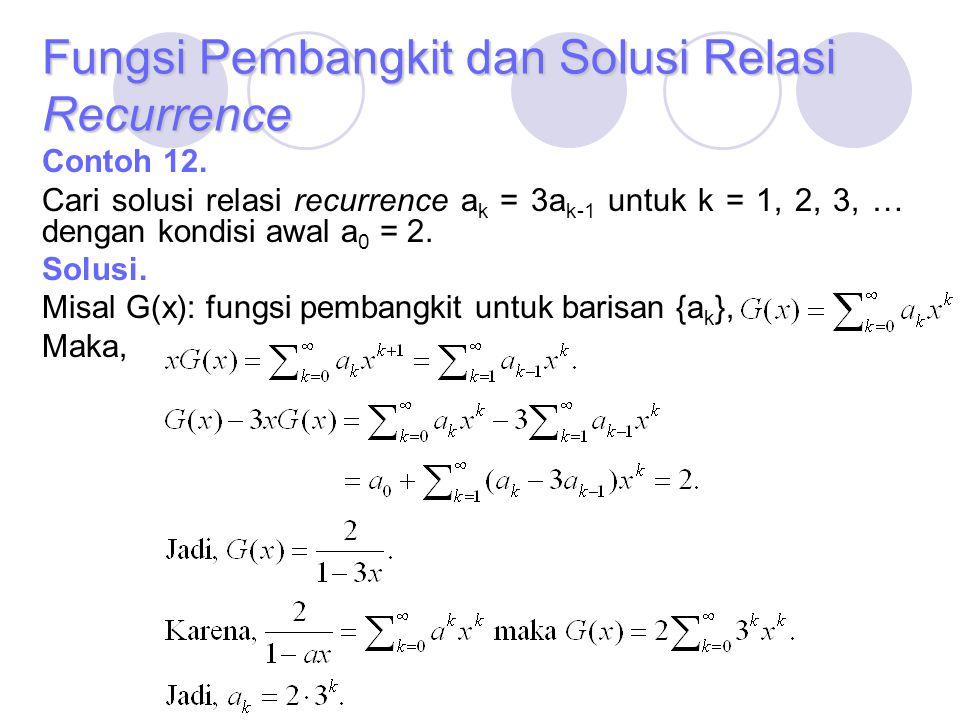 Fungsi Pembangkit dan Solusi Relasi Recurrence Contoh 12. Cari solusi relasi recurrence a k = 3a k-1 untuk k = 1, 2, 3, … dengan kondisi awal a 0 = 2.