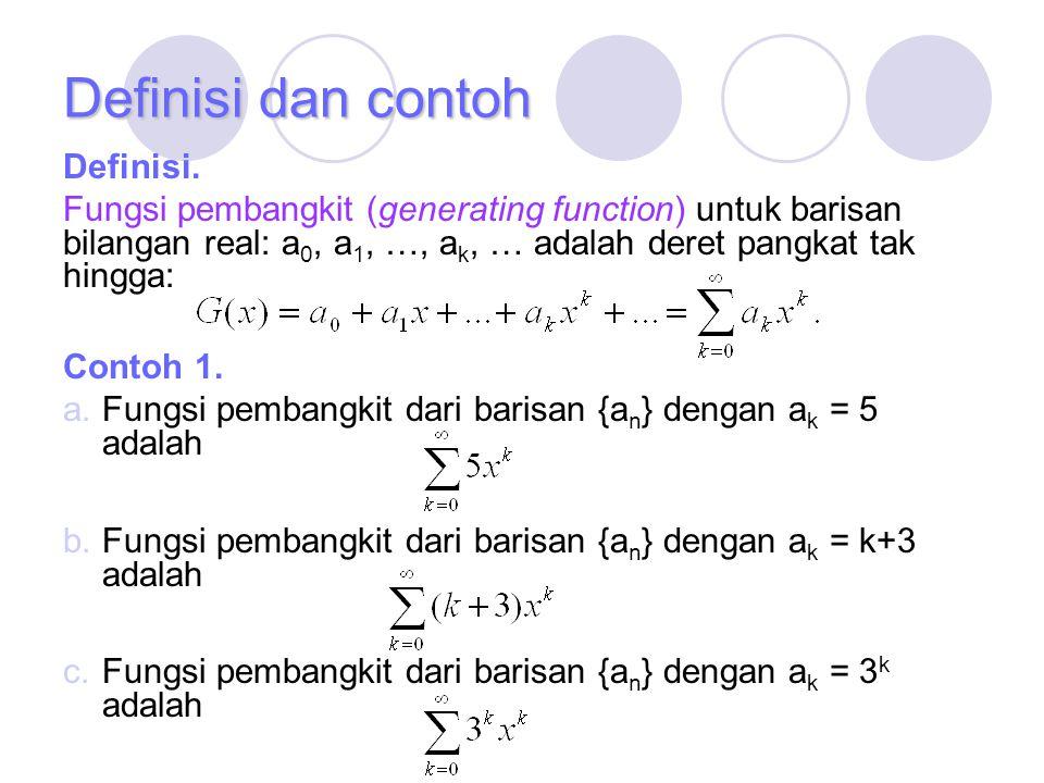 Definisi dan contoh Definisi. Fungsi pembangkit (generating function) untuk barisan bilangan real: a 0, a 1, …, a k, … adalah deret pangkat tak hingga