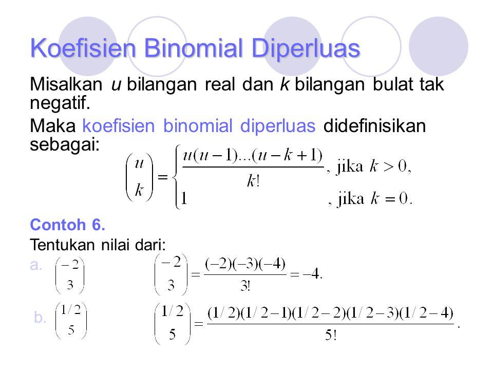 Koefisien Binomial Diperluas Misalkan u bilangan real dan k bilangan bulat tak negatif. Maka koefisien binomial diperluas didefinisikan sebagai: Conto