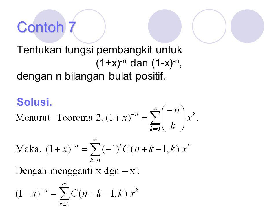 Contoh 7 Tentukan fungsi pembangkit untuk (1+x) -n dan (1-x) -n, dengan n bilangan bulat positif. Solusi.