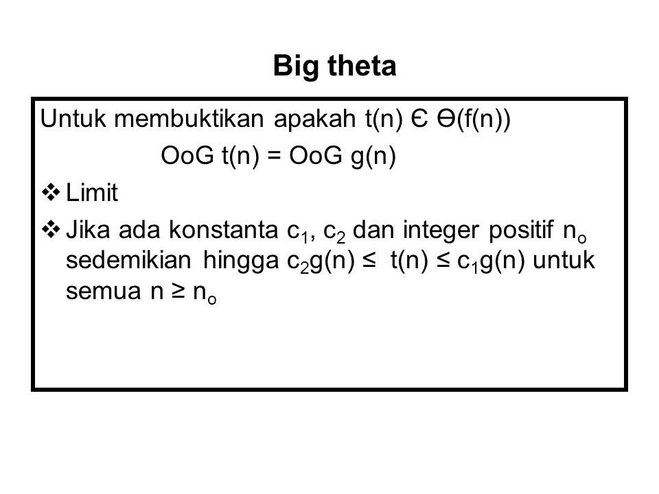 Untuk membuktikan apakah t(n) Є Ө(f(n)) OoG t(n) = OoG g(n)  Limit  Jika ada konstanta c 1, c 2 dan integer positif n o sedemikian hingga c 2 g(n) ≤