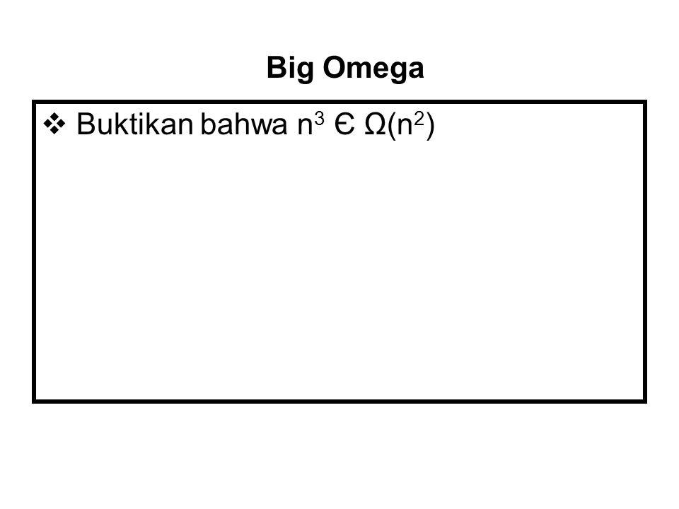 t(n) Є O(f(n))  Baca : OoG t(n) ada di O f(n)  t(n) Є O(f(n)) jika OoG t(n) ≤ OoG f(n)  Contoh 7n Є O(n 2 ), 100n + 5 Є O(n 2 ), 0.5n(n - 1) O(n 2 ) Big Oh