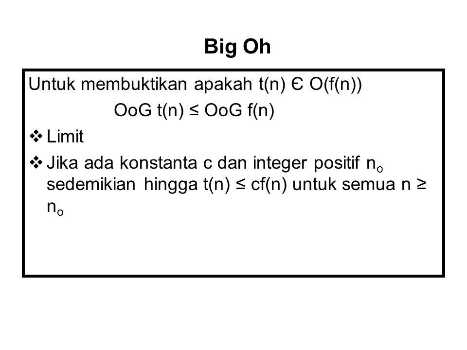 Untuk membuktikan apakah t(n) Є O(f(n)) OoG t(n) ≤ OoG f(n)  Limit  Jika ada konstanta c dan integer positif n o sedemikian hingga t(n) ≤ cf(n) untu