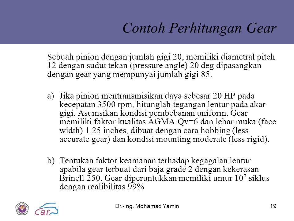 Dr.-Ing. Mohamad Yamin19 Sebuah pinion dengan jumlah gigi 20, memiliki diametral pitch 12 dengan sudut tekan (pressure angle) 20 deg dipasangkan denga