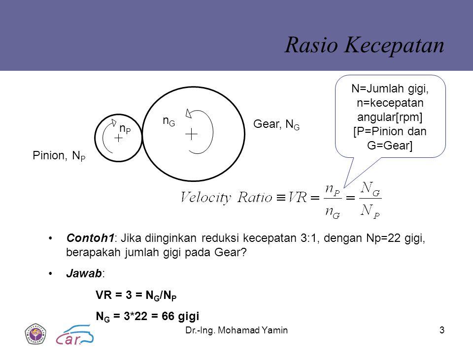 Dr.-Ing. Mohamad Yamin3 Rasio Kecepatan Pinion, N P Gear, N G nGnG nPnP N=Jumlah gigi, n=kecepatan angular[rpm] [P=Pinion dan G=Gear] Contoh1: Jika di
