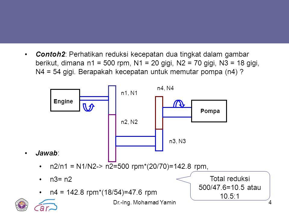 Dr.-Ing. Mohamad Yamin4 Engine Pompa n1, N1 n2, N2 n3, N3 n4, N4 Contoh2: Perhatikan reduksi kecepatan dua tingkat dalam gambar berikut, dimana n1 = 5