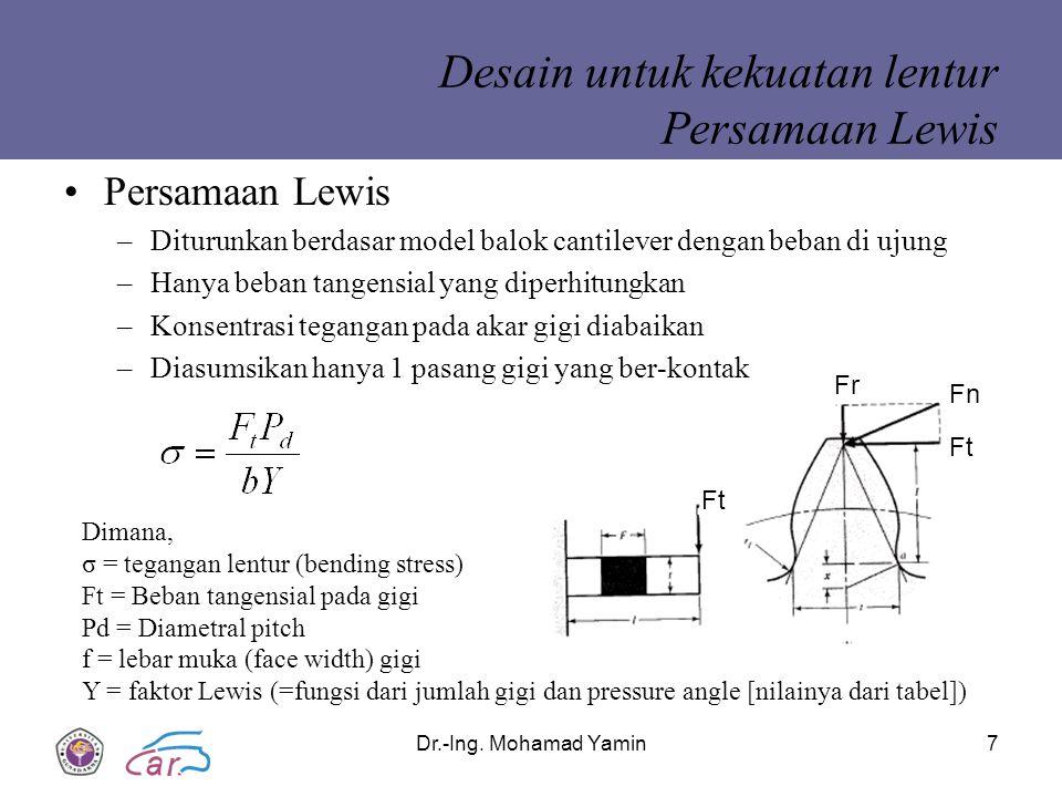 Dr.-Ing. Mohamad Yamin7 Desain untuk kekuatan lentur Persamaan Lewis Persamaan Lewis –Diturunkan berdasar model balok cantilever dengan beban di ujung
