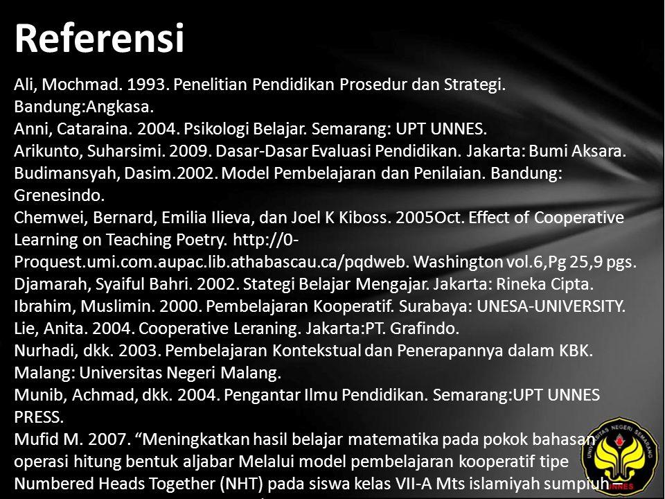 Referensi Ali, Mochmad. 1993. Penelitian Pendidikan Prosedur dan Strategi.