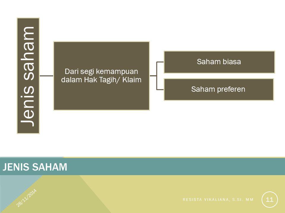28/11/2014 Saham biasa:  Saham yang menempatkan pemiliknya paling junior terhadap pembagian dividen, dan hak atas harta kekayaan perusahaan apabila perusahaan tersebut dilikuidasi.