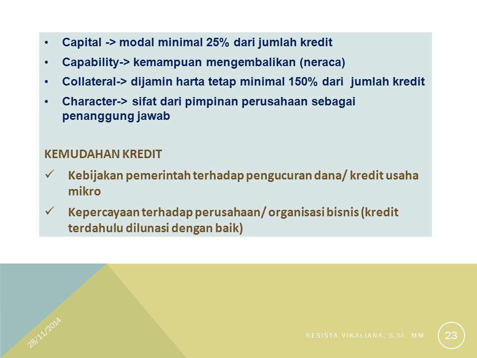 Capital -> modal minimal 25% dari jumlah kredit Capability-> kemampuan mengembalikan (neraca) Collateral-> dijamin harta tetap minimal 150% dari jumla