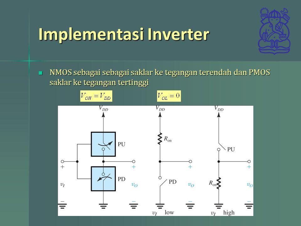 Implementasi Inverter NMOS sebagai sebagai saklar ke tegangan terendah dan PMOS saklar ke tegangan tertinggi NMOS sebagai sebagai saklar ke tegangan t