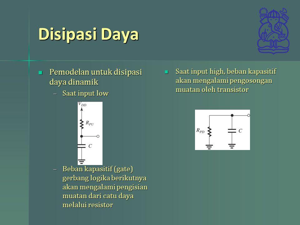 Disipasi Daya Pemodelan untuk disipasi daya dinamik Pemodelan untuk disipasi daya dinamik –Saat input low –Beban kapasitif (gate) gerbang logika berikutnya akan mengalami pengisian muatan dari catu daya melalui resistor Saat input high, beban kapasitif akan mengalami pengosongan muatan oleh transistor
