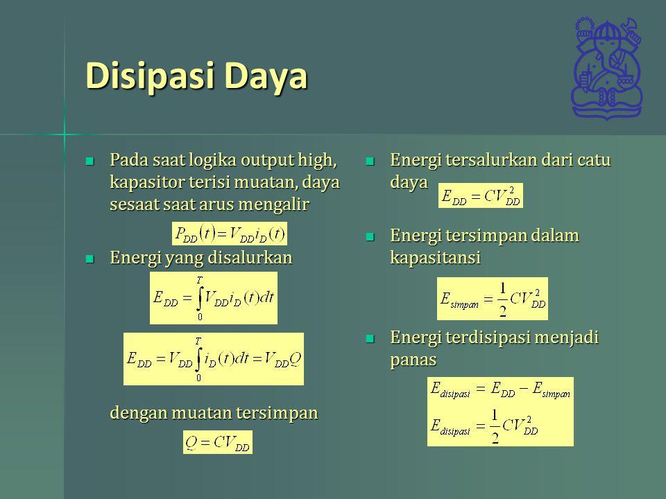 Disipasi Daya Pada saat logika output high, kapasitor terisi muatan, daya sesaat saat arus mengalir Pada saat logika output high, kapasitor terisi muatan, daya sesaat saat arus mengalir Energi yang disalurkan dengan muatan tersimpan Energi yang disalurkan dengan muatan tersimpan Energi tersalurkan dari catu daya Energi tersalurkan dari catu daya Energi tersimpan dalam kapasitansi Energi tersimpan dalam kapasitansi Energi terdisipasi menjadi panas Energi terdisipasi menjadi panas