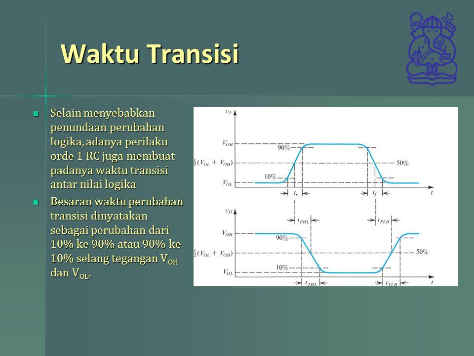 Waktu Transisi Selain menyebabkan penundaan perubahan logika, adanya perilaku orde 1 RC juga membuat padanya waktu transisi antar nilai logika Selain
