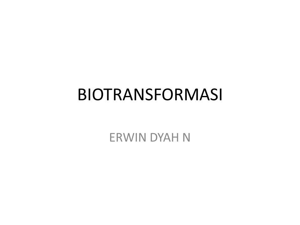 DEFINISI Biotransformasi = proses perubahan bahan kimia menjadi bahan kimia lain melalui reaksi kimia yg terjadi di dalam tubuh Proses biotransformasi = Metabolisme / transformasi metabolik Namun, pd metabolisme kadang tdk spesifik hanya proses transformasi saja, di sini juga terjadi fase toksikokinetik