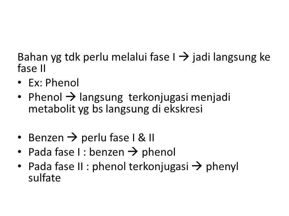 Bahan yg tdk perlu melalui fase I  jadi langsung ke fase II Ex: Phenol Phenol  langsung terkonjugasi menjadi metabolit yg bs langsung di ekskresi Benzen  perlu fase I & II Pada fase I : benzen  phenol Pada fase II : phenol terkonjugasi  phenyl sulfate