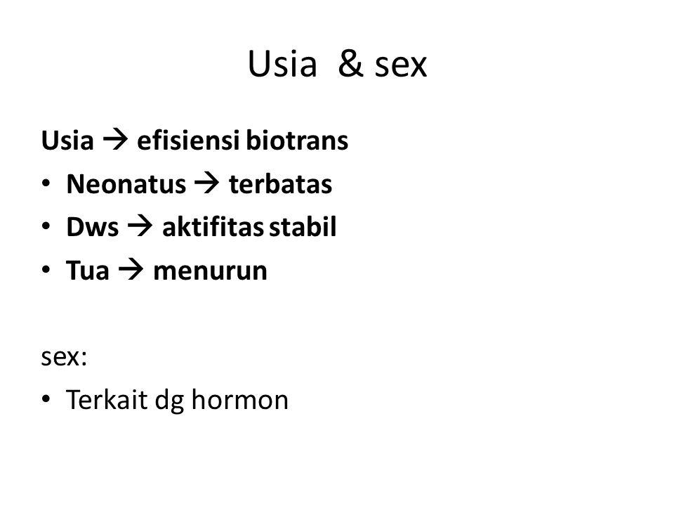 Usia & sex Usia  efisiensi biotrans Neonatus  terbatas Dws  aktifitas stabil Tua  menurun sex: Terkait dg hormon