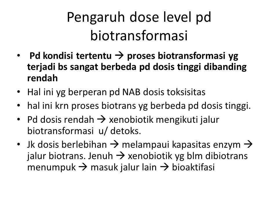 Pengaruh dose level pd biotransformasi Pd kondisi tertentu  proses biotransformasi yg terjadi bs sangat berbeda pd dosis tinggi dibanding rendah Hal ini yg berperan pd NAB dosis toksisitas hal ini krn proses biotrans yg berbeda pd dosis tinggi.