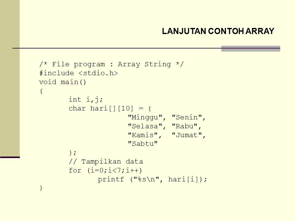 LANJUTAN CONTOH ARRAY /* File program : Array String */ #include void main() { int i,j; char hari[][10] = {