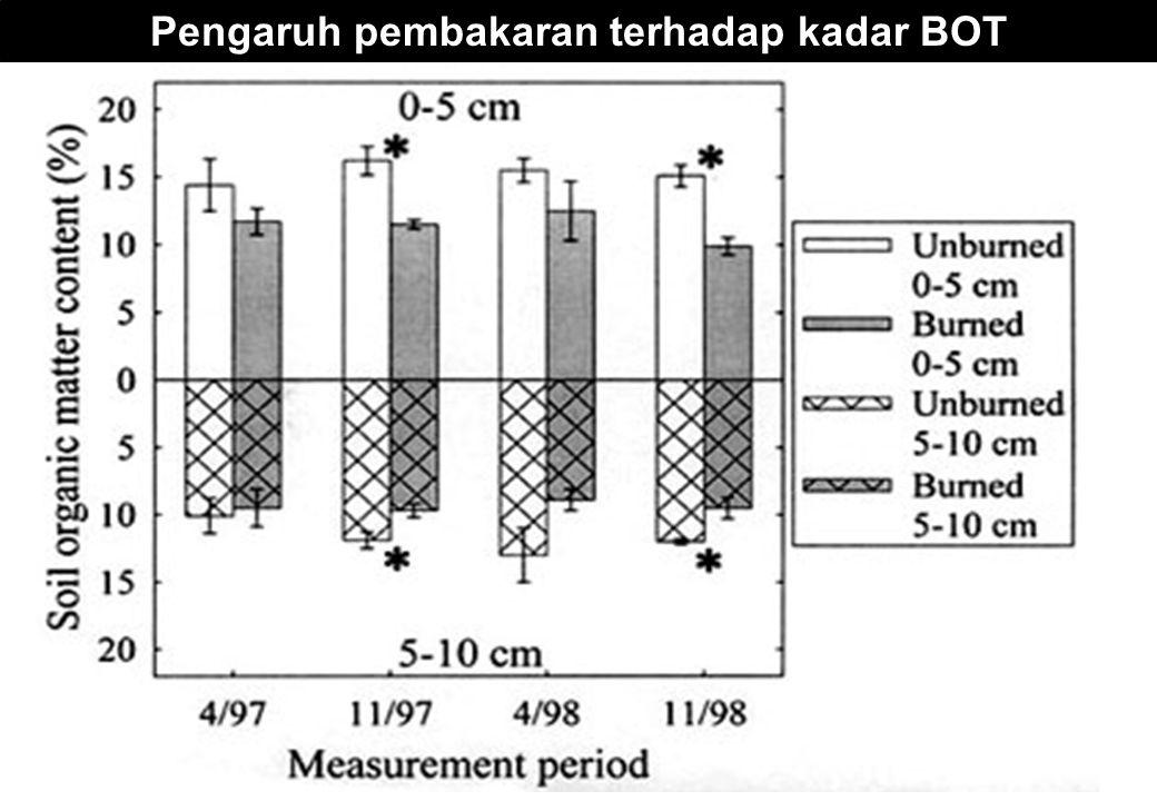 Pengaruh pembakaran terhadap kadar BOT
