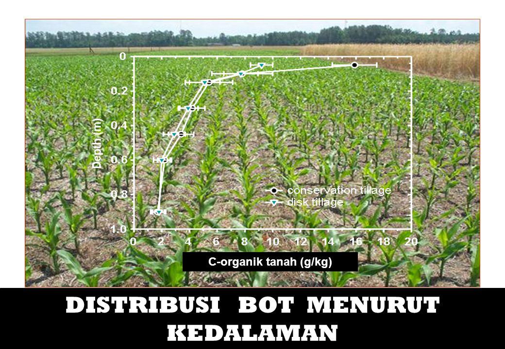KETERKAITAN VEGETASI & BOT CO2 respirasi tanaman CO2 Fotosintesis CO2 respirasi tanah C-organik tanah Bebas C-organik tanah Intra-Agregat Diangkut ke groundwater Bahan organik dan sedimen C-organik dan C-anorganik yang larut Seresah Bahan organik Akar Tanaman Mikroba Tanah C-organik-tanah yang terlindung secara kimiawi