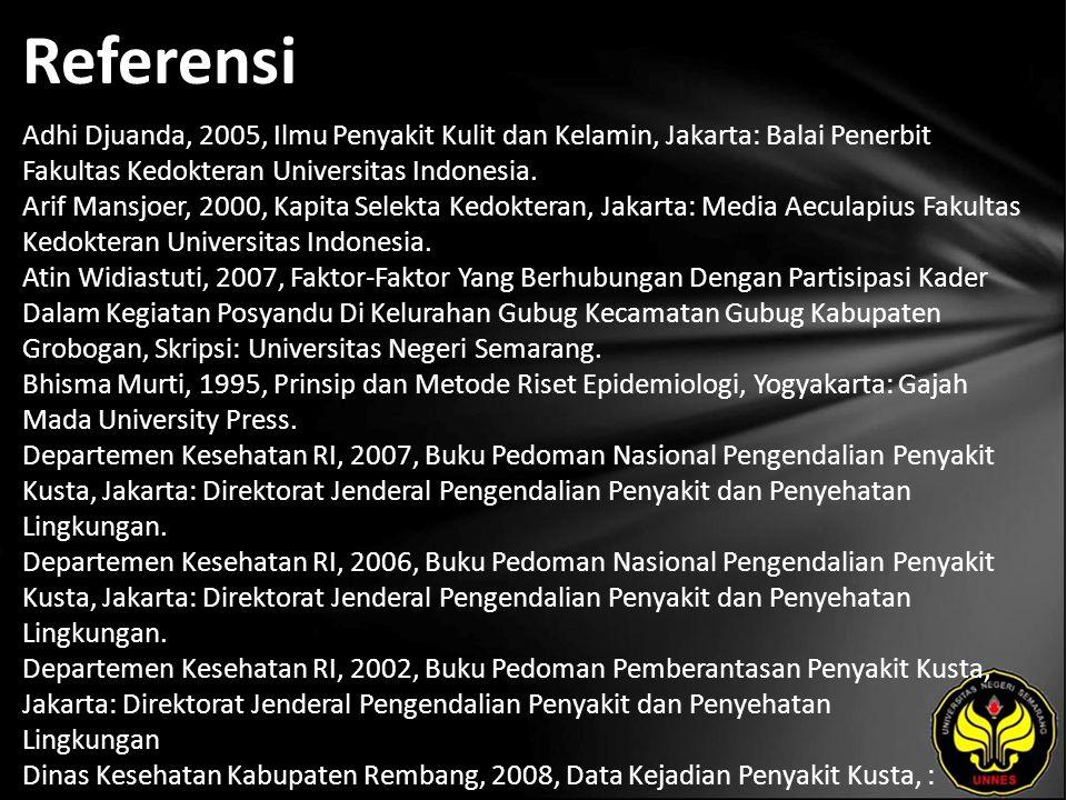Referensi Adhi Djuanda, 2005, Ilmu Penyakit Kulit dan Kelamin, Jakarta: Balai Penerbit Fakultas Kedokteran Universitas Indonesia.