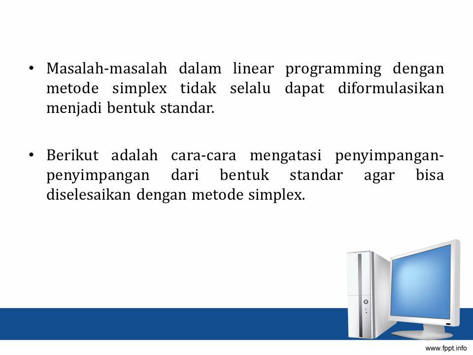 Tabel Simplex 2 Variabel Dasar X1X1 X2X2 X3X3 X4X4 X5X5 X6X6 NKIndex Z0-5M+54M-3/20M0-6M-12 X3X3 10½0004~ X4X4 030100155 X6X6 05-30166/5
