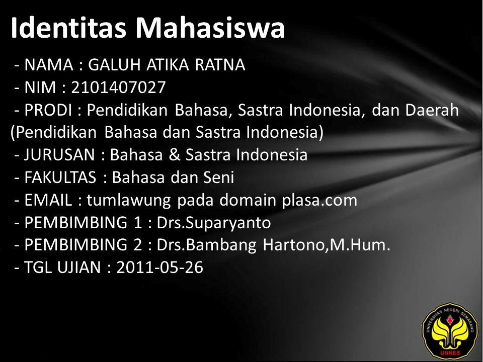 Identitas Mahasiswa - NAMA : GALUH ATIKA RATNA - NIM : 2101407027 - PRODI : Pendidikan Bahasa, Sastra Indonesia, dan Daerah (Pendidikan Bahasa dan Sas