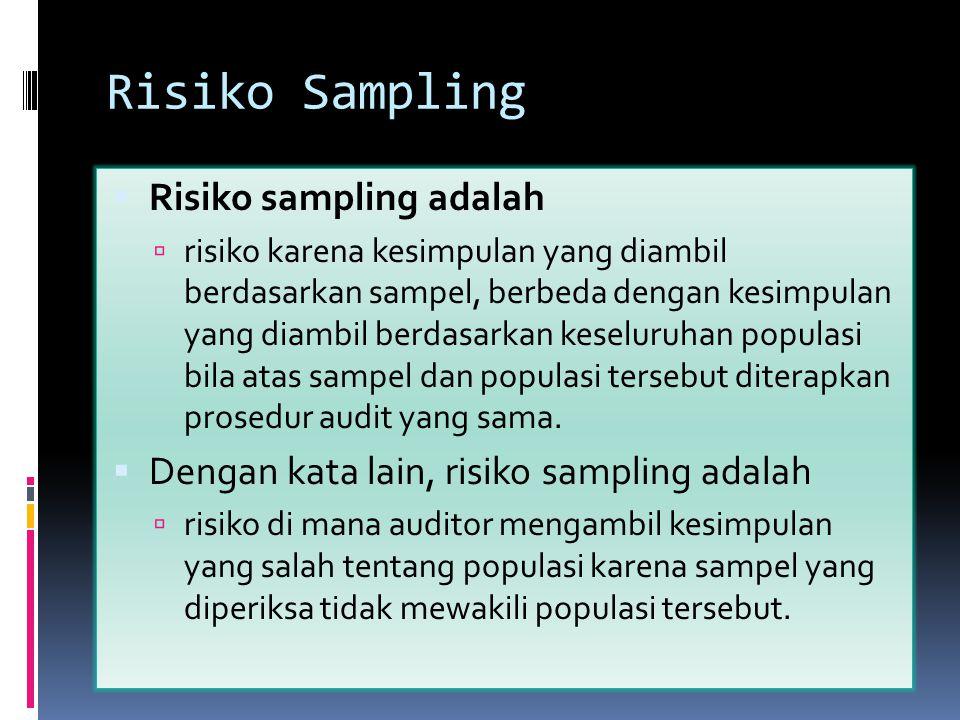 Risiko Sampling  Risiko sampling adalah  risiko karena kesimpulan yang diambil berdasarkan sampel, berbeda dengan kesimpulan yang diambil berdasarka
