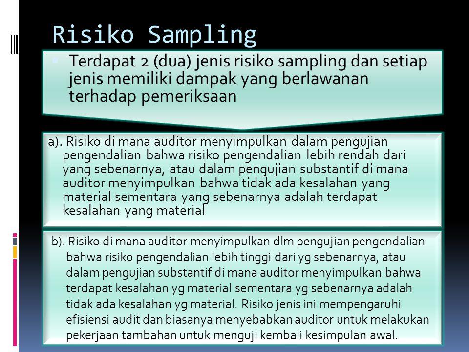 Risiko Sampling b). Risiko di mana auditor menyimpulkan dlm pengujian pengendalian bahwa risiko pengendalian lebih tinggi dari yg sebenarnya, atau dal