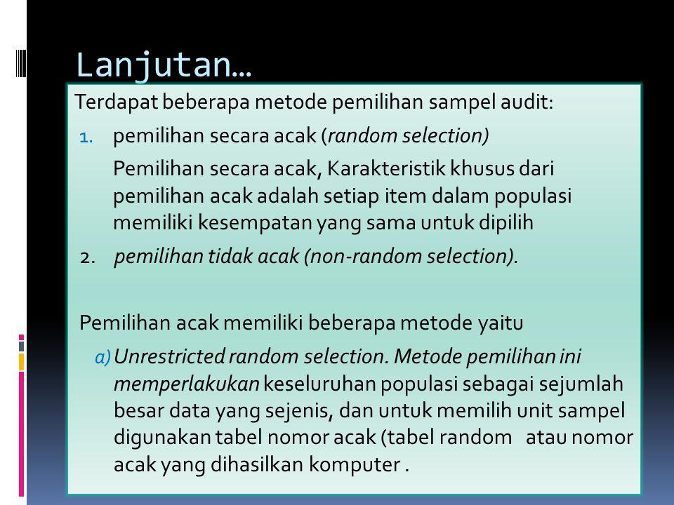 Lanjutan… Terdapat beberapa metode pemilihan sampel audit: 1. pemilihan secara acak (random selection) Pemilihan secara acak, Karakteristik khusus dar