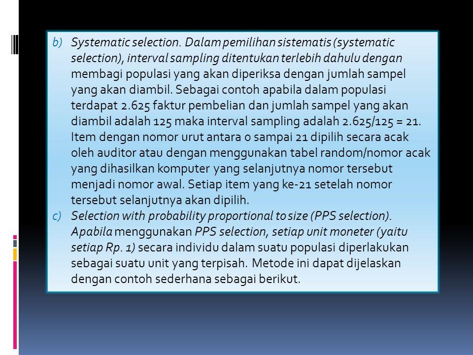 Tabel Metode dalam pemilihan sampel audit b)Systematic selection. Dalam pemilihan sistematis (systematic selection), interval sampling ditentukan terl