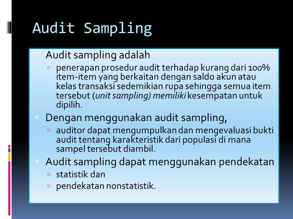 Sampling  Sampling (umum) adalah pemeriksaan atas sedikit item (unit sampling) yang diambil dari data yang banyak (populasi) untuk mendapatkan gambaran mengenai karakteristik dari data yang banyak tersebut secara keseluruhan.