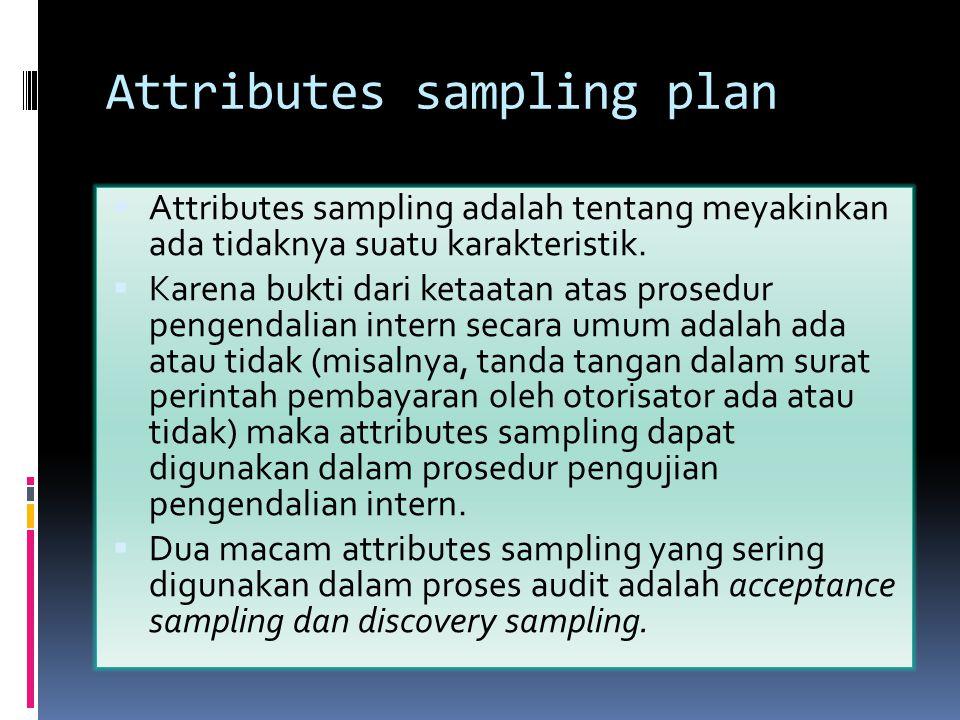 Attributes sampling plan  Attributes sampling adalah tentang meyakinkan ada tidaknya suatu karakteristik.  Karena bukti dari ketaatan atas prosedur