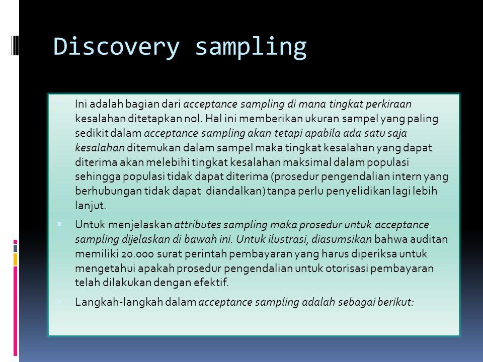 Discovery sampling  Ini adalah bagian dari acceptance sampling di mana tingkat perkiraan kesalahan ditetapkan nol. Hal ini memberikan ukuran sampel y
