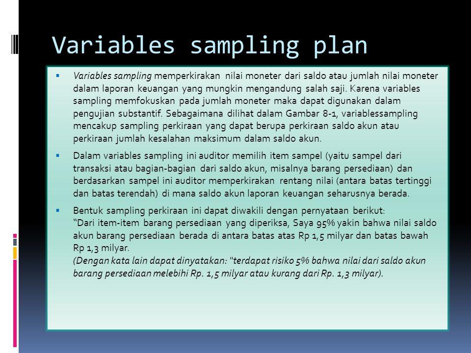 Variables sampling plan  Variables sampling memperkirakan nilai moneter dari saldo atau jumlah nilai moneter dalam laporan keuangan yang mungkin meng