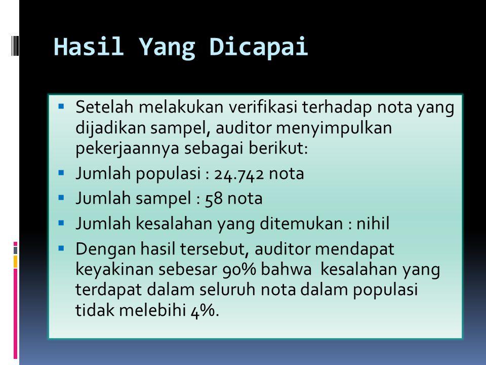 Hasil Yang Dicapai  Setelah melakukan verifikasi terhadap nota yang dijadikan sampel, auditor menyimpulkan pekerjaannya sebagai berikut:  Jumlah pop