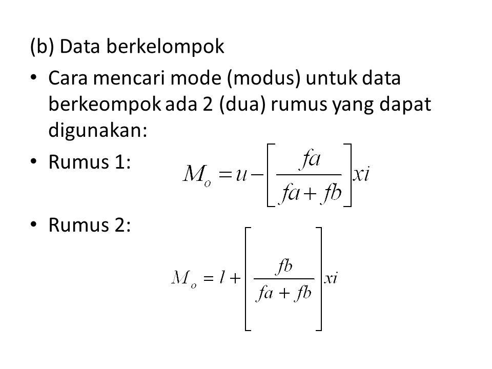 Penjelasan rumus Mo = Modus yang akan dicari u = batas atas nyata yang mengandung modus l = batas bawah nyata yang mengandung modus fa = frekuensi yang terletak di atas frekuensi yang mengandung modus fb = frekuensi yang terletak di bawah frekuensi yang mengandung modus i = interval