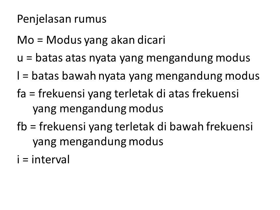 Penjelasan rumus Mo = Modus yang akan dicari u = batas atas nyata yang mengandung modus l = batas bawah nyata yang mengandung modus fa = frekuensi yan