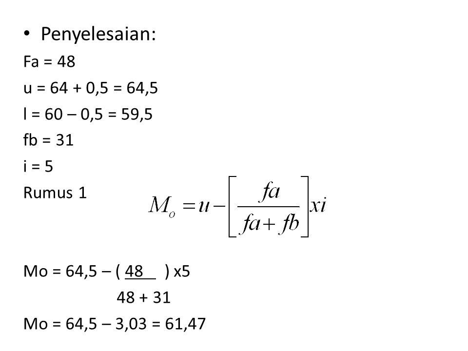 Rumus2 Fa = 48 u = 64 + 0,5 = 64,5 l = 60 – 0,5 = 59,5 fb = 31 i = 5 Mo = 59,5 + ( 31 ) x 5 48+31 Mo = 59,5 + 1,97 Mo = 61,47 (hasilnya sama dengan rumus 1)