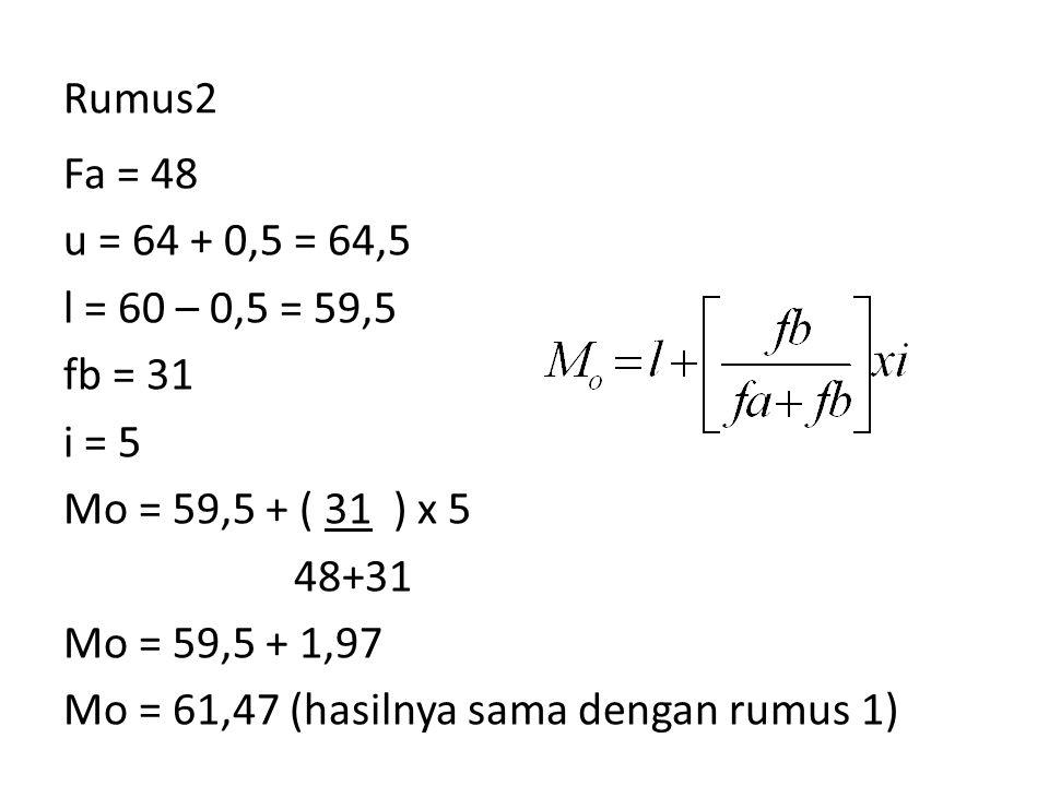 Rumus2 Fa = 48 u = 64 + 0,5 = 64,5 l = 60 – 0,5 = 59,5 fb = 31 i = 5 Mo = 59,5 + ( 31 ) x 5 48+31 Mo = 59,5 + 1,97 Mo = 61,47 (hasilnya sama dengan ru