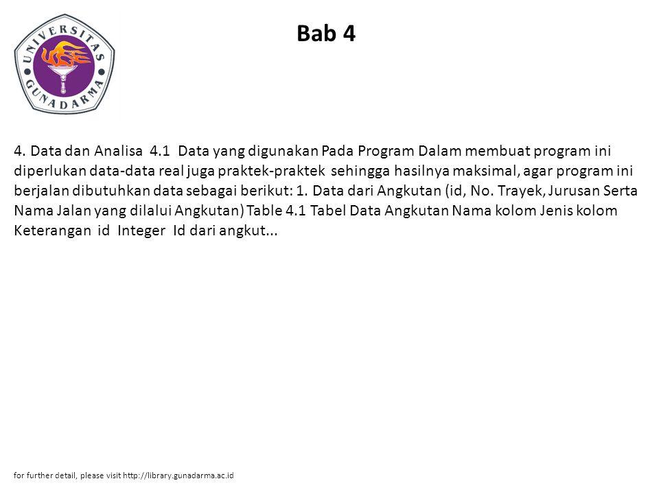 Bab 4 4. Data dan Analisa 4.1 Data yang digunakan Pada Program Dalam membuat program ini diperlukan data-data real juga praktek-praktek sehingga hasil