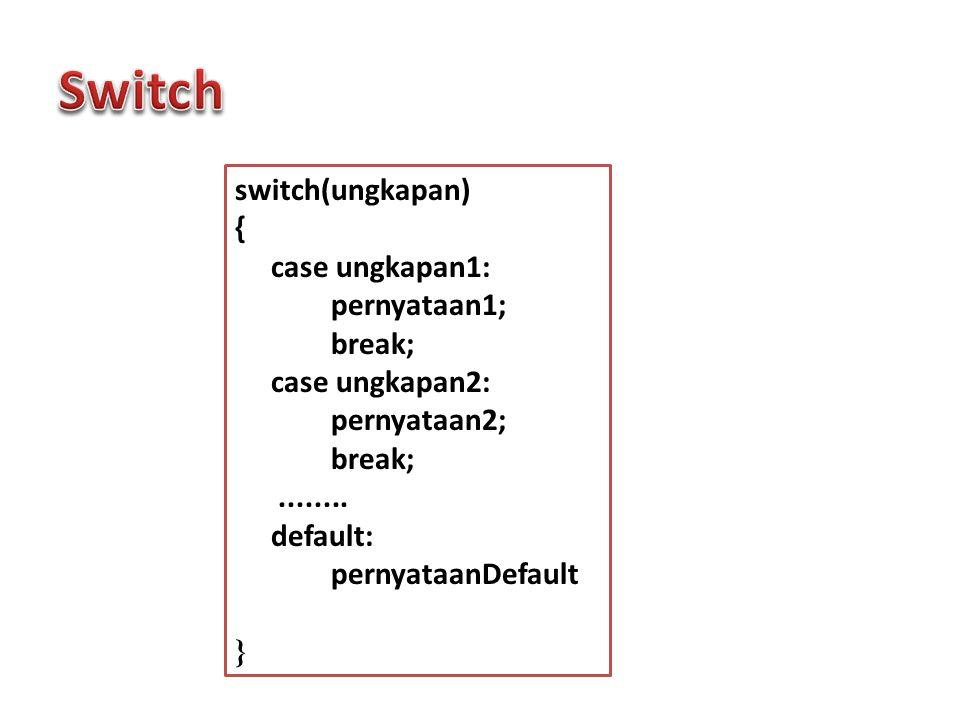 switch(ungkapan) { case ungkapan1: pernyataan1; break; case ungkapan2: pernyataan2; break;........ default: pernyataanDefault }
