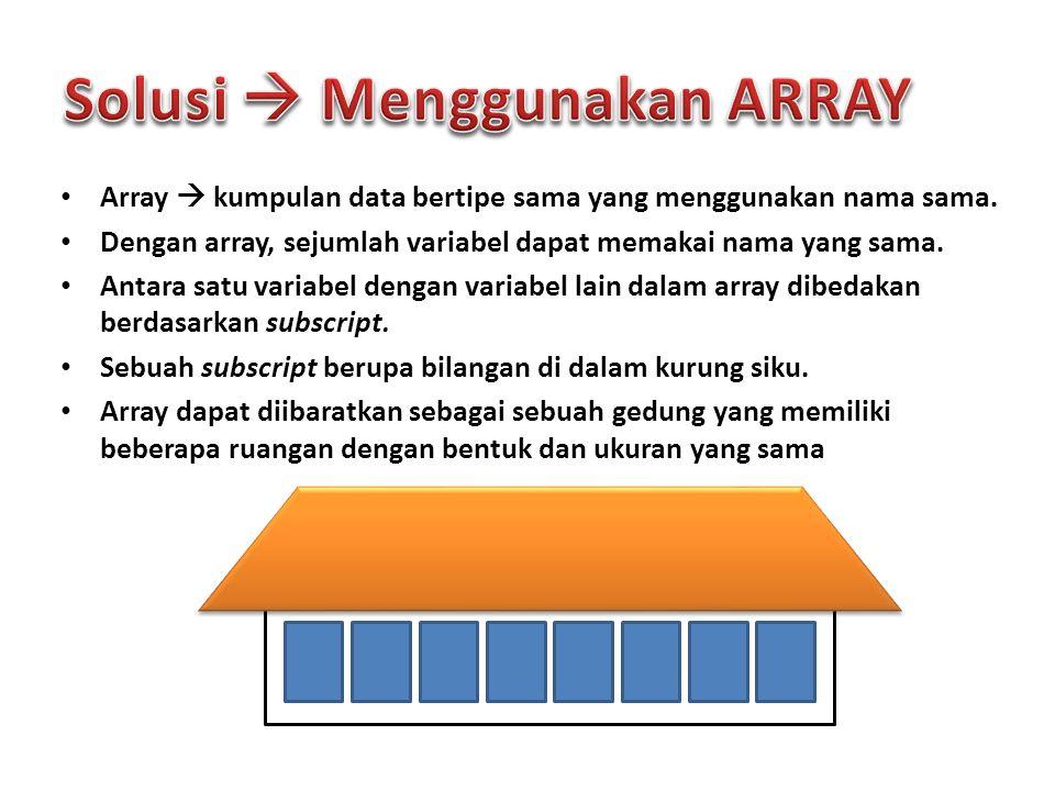 Array  kumpulan data bertipe sama yang menggunakan nama sama. Dengan array, sejumlah variabel dapat memakai nama yang sama. Antara satu variabel deng