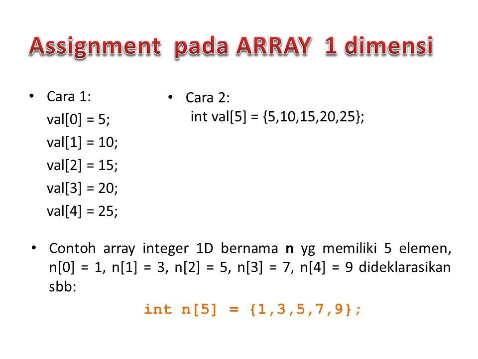Cara 1: val[0] = 5; val[1] = 10; val[2] = 15; val[3] = 20; val[4] = 25; Cara 2: int val[5] = {5,10,15,20,25}; Contoh array integer 1D bernama n yg mem