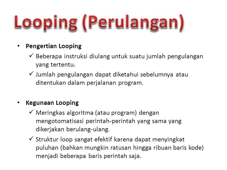 Pengertian Looping Beberapa instruksi diulang untuk suatu jumlah pengulangan yang tertentu. Jumlah pengulangan dapat diketahui sebelumnya atau ditentu