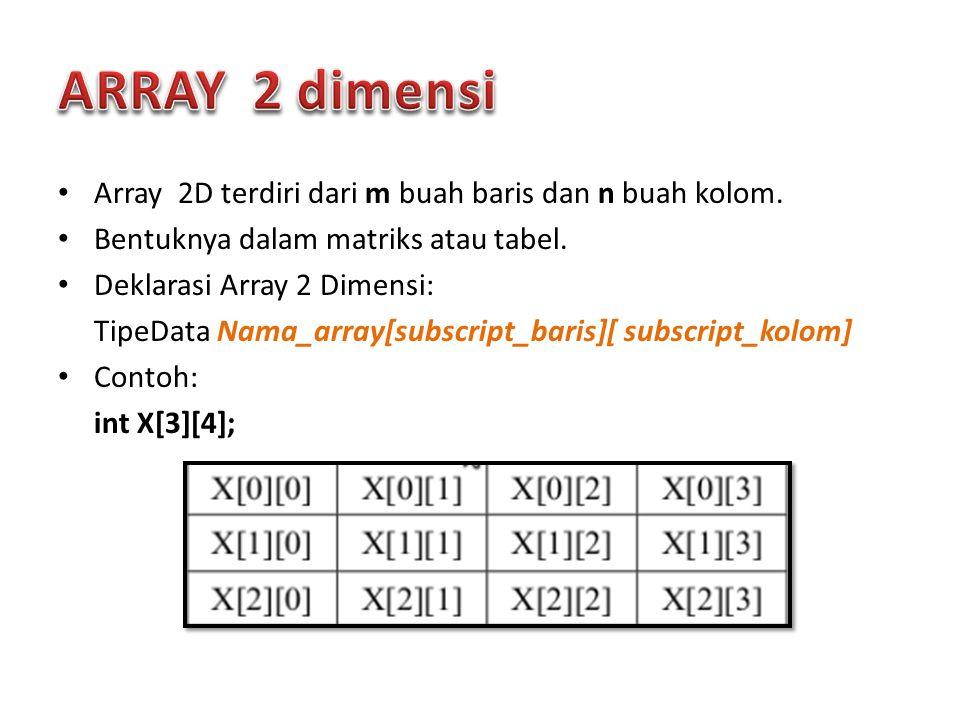 Array 2D terdiri dari m buah baris dan n buah kolom. Bentuknya dalam matriks atau tabel. Deklarasi Array 2 Dimensi: TipeData Nama_array[subscript_bari