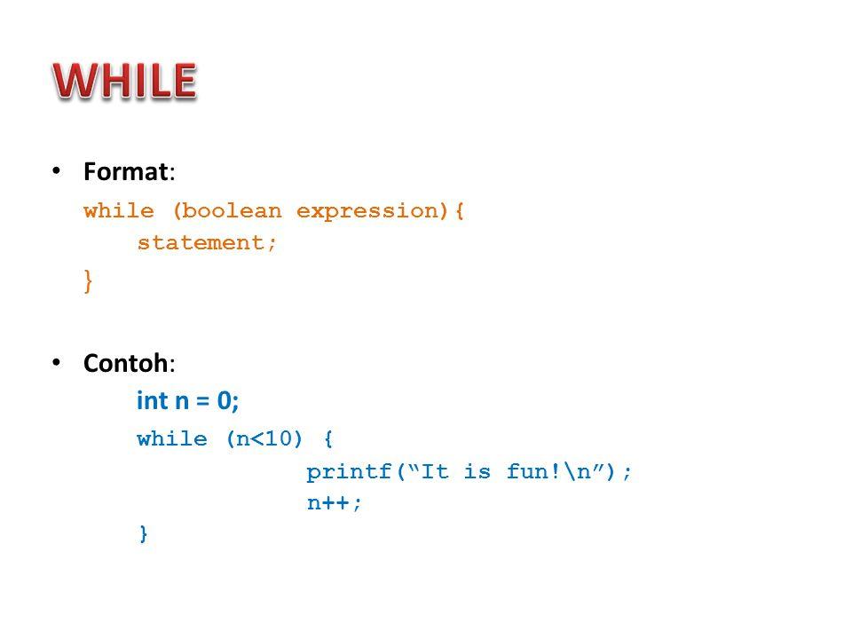 Menampilkan dalam bentuk matriks: Hasil: printf( \tMatrik yant telah diinput adalah : \n ); for ( baris=1 ; baris<=3 ; baris++) { for ( kolom=1 ; kolom<=3 ; kolom++) { printf( \t%d ,matrik[baris][kolom]); } printf( \n ); }