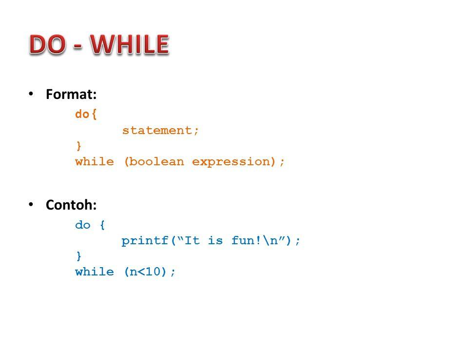 Deklarasi Array (1D, 2D dan 3D): – Tipe data elemen array – Nama array – Jumlah elemen array Deklarasi 1 Dimensi: tipe_data nama_larik[ukuran]; Contoh deklarasi Array 1 Dimensi: int val[ 5 ];//declaration